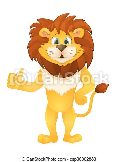 cute cartoon standing lion. vector illustration - csp30002883