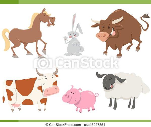 cute farm animals cartoon set - csp45927851