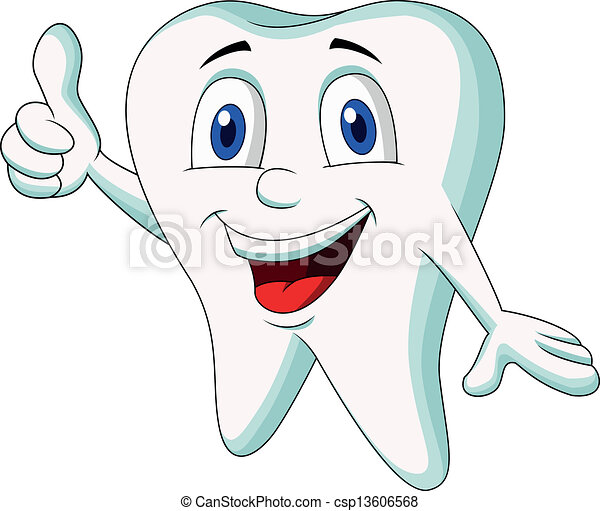 Cute tooth cartoon thumb up - csp13606568