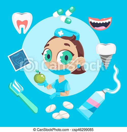 Dental care symbols. Teeth dental care mouth health set with inspection dentist treatment. - csp46299085