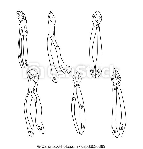 Dental instruments for tooth extraction, extraction forceps for different types of teeth, vector outline illustration - csp86030369