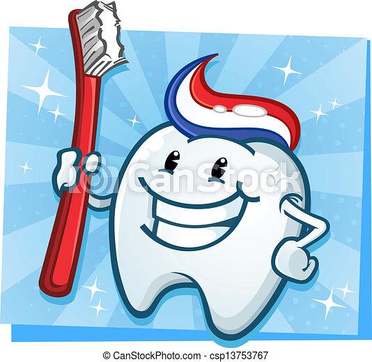 Dental Tooth Cartoon Character - csp13753767