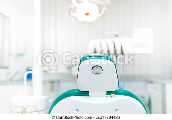Detail of dentist chair at local dental private clinic - csp17704426