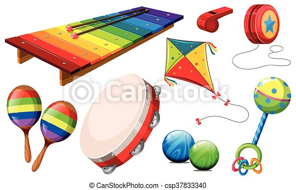 Different kind of musical instruments and toys - csp37833340