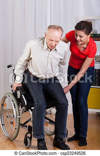 Disabled man trying to stand up - csp23249526