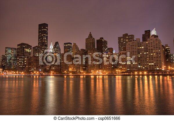 Downtown Manhattan at Night, NYC - csp0651666