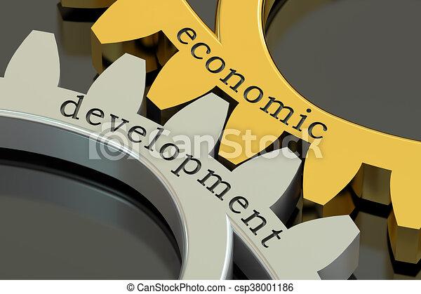 Economic Development concept on the gearwheels, 3D rendering - csp38001186