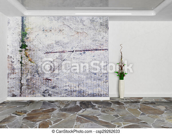 empty room in grunge colors with a vas - csp29262633