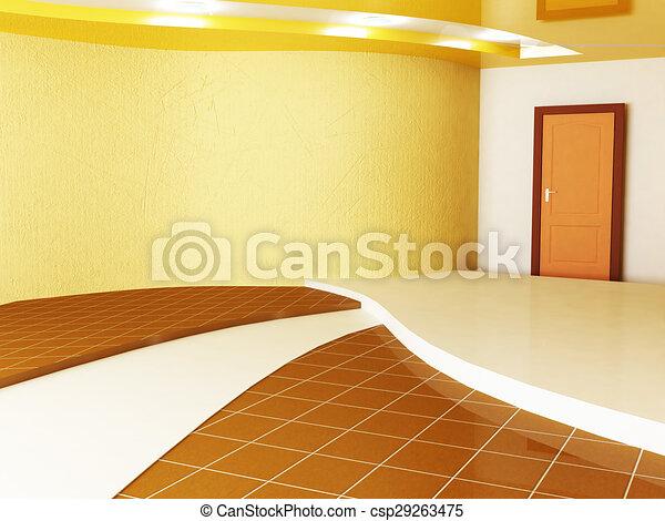 empty room with a door - csp29263475