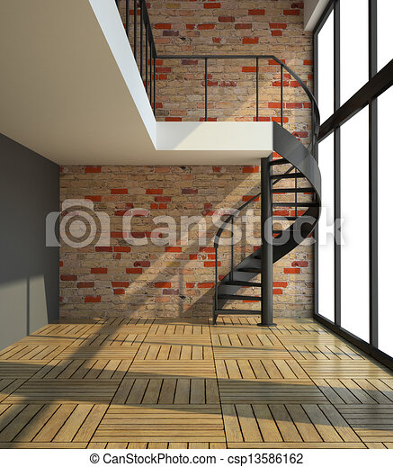Empty room with staircase in waiting for tenants illustration - csp13586162