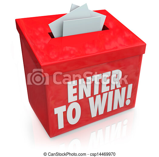 Enter to Win Red Raffle Lottery Box Entry Forms Tickets - csp14469970