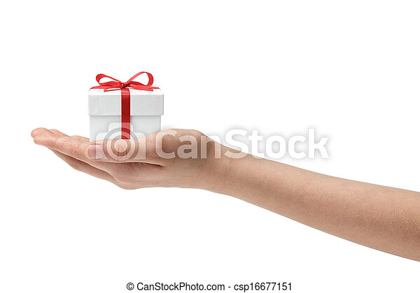 female teen hand holding present - csp16677151