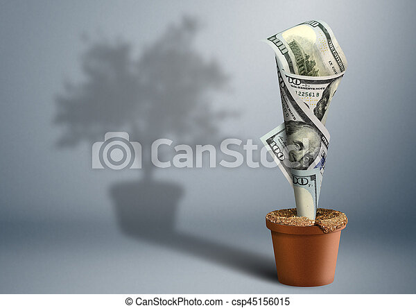 finance growth creative concept, money as tree in pot - csp45156015
