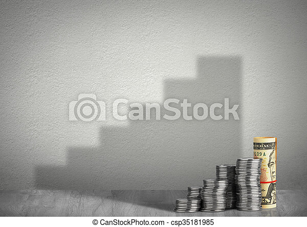 financial growth concept, money with steps shadow - csp35181985