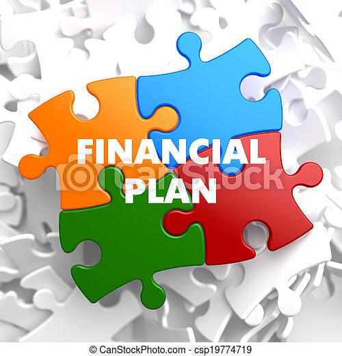 Financial Plan on Multicolor Puzzle. - csp19774719