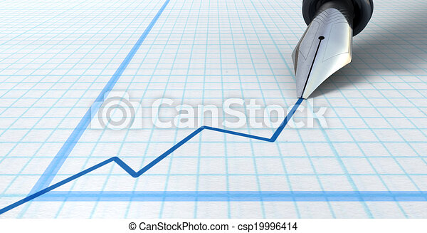 Fountain Pen Drawing Increasing Graph - csp19996414