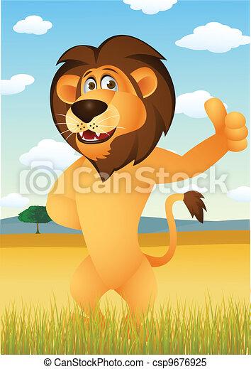 Funny lion cartoon - csp9676925