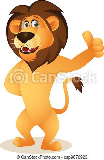 Funny lion cartoon - csp9676923