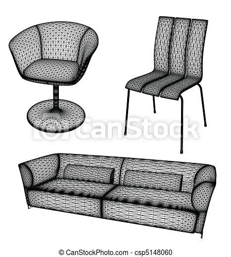 Furniture set vector illustration for design - csp5148060