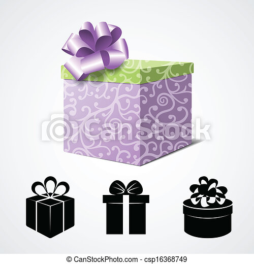 Gift Box Isolated on White and Some Present Icons - csp16368749