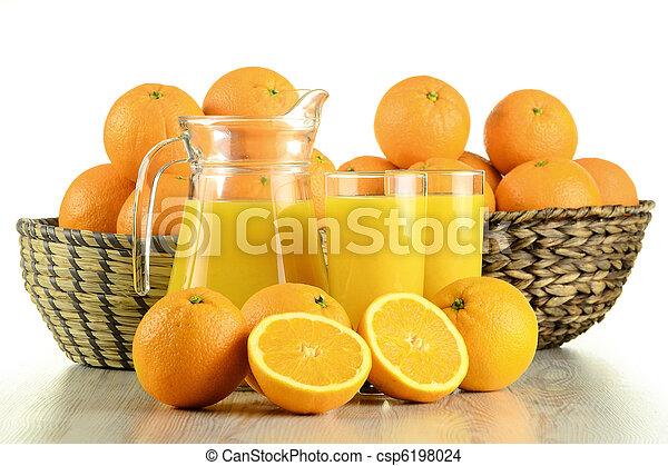 Glasses of orange juice and fruits - csp6198024