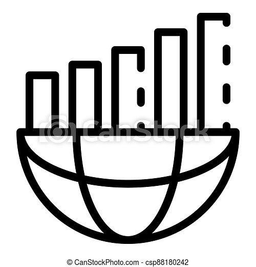 Global chart bars icon, outline style - csp88180242