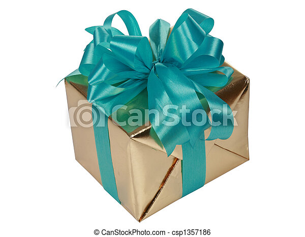Gold present with blue ribbons - csp1357186