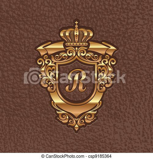 Golden royal coat of arms - csp9185364