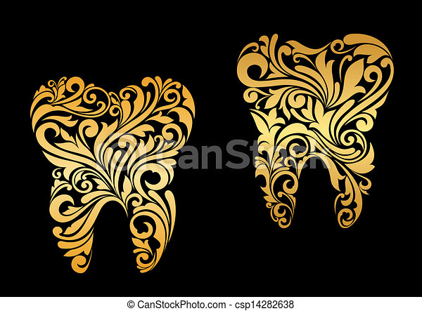 Golden tooth in floral style - csp14282638