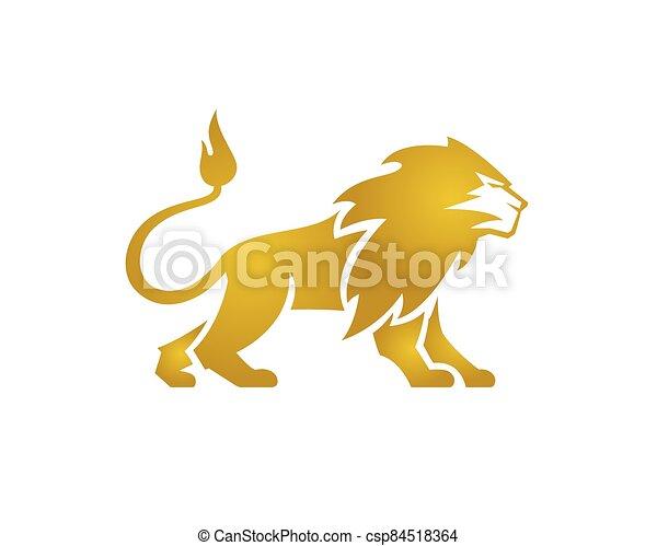 Great Golden Lion Standing Lion Standing Vector - csp84518364