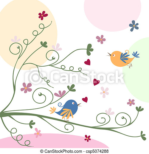greeting card with birds - csp5074288