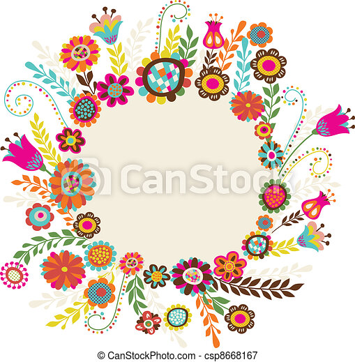 greeting card with flowers - csp8668167