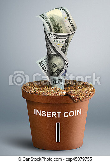 growing Investment concept, money growth in pot - csp45079755