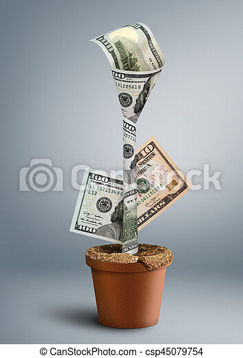 growing wealth creative concept, money as flower in pot - csp45079754