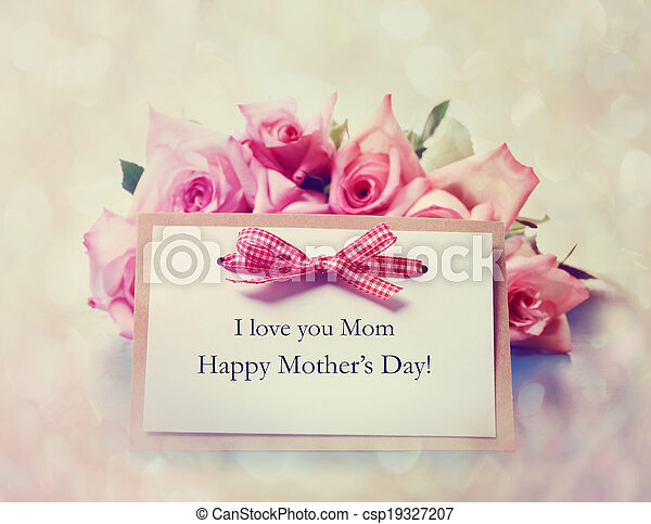 Handmade Mothers Day card with pink roses - csp19327207