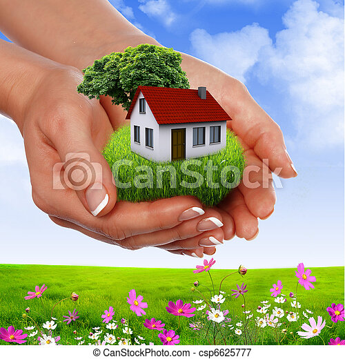 hands holding house - csp6625777