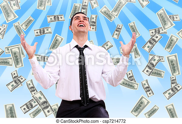 Happy businessman and flying dollar banknotes - csp7214772