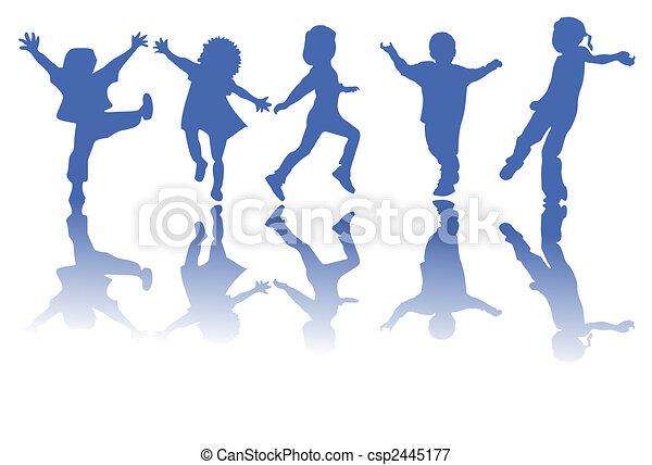 Happy children silhouettes - csp2445177
