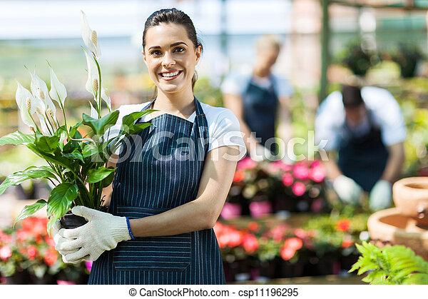 happy female nursery owner - csp11196295