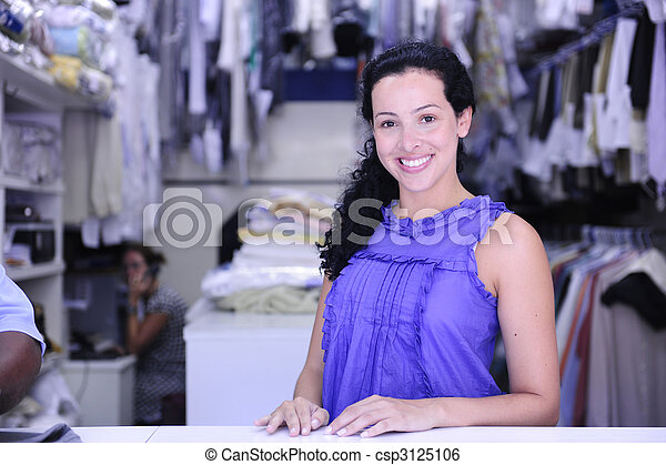 happy owner of a dry cleaning service - csp3125106