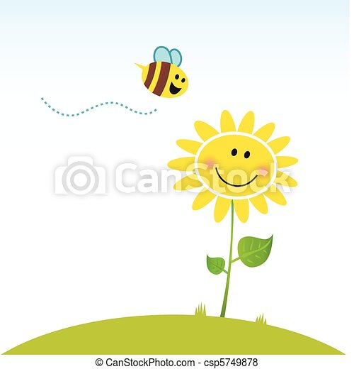 Happy spring flower with bee - csp5749878