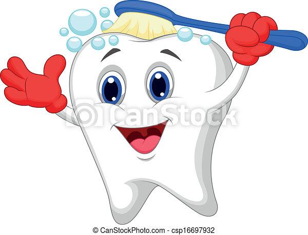 Happy tooth cartoon brushing - csp16697932