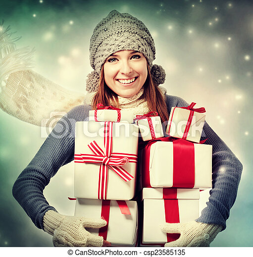 Happy woman with present boxes - csp23585135