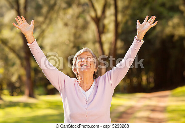 healthy elderly woman arms outstretched - csp15233268