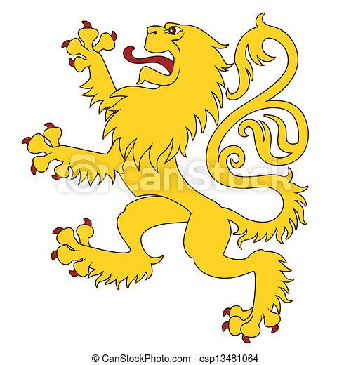 Heraldic lion 24 - csp13481064