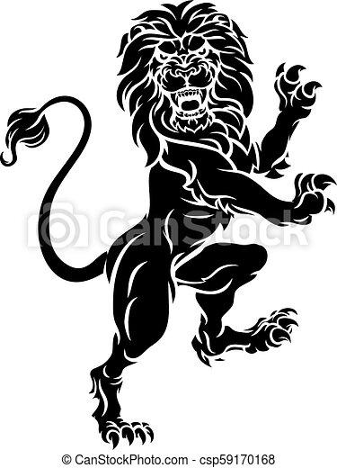 Heraldic Lion Standing Rampant Crest Coat of Arms - csp59170168