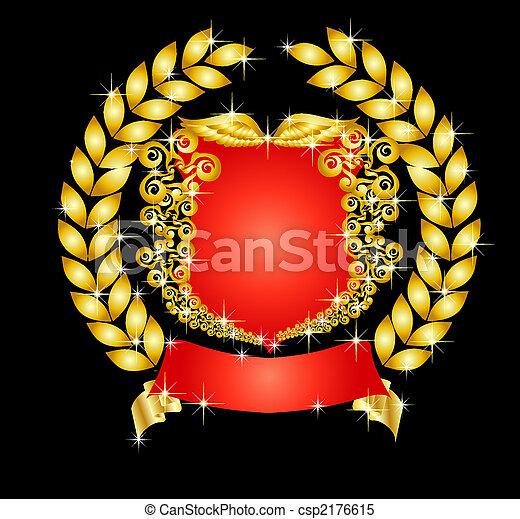 heraldic shield with laurel wreath - csp2176615