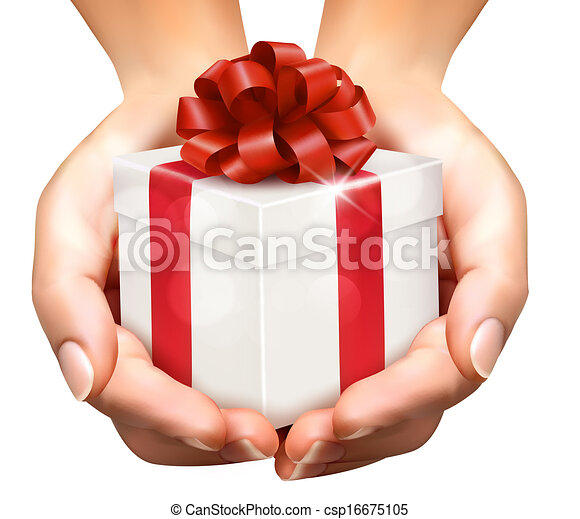 Holiday background with hands holding gift boxes. Concept of giving presents - csp16675105