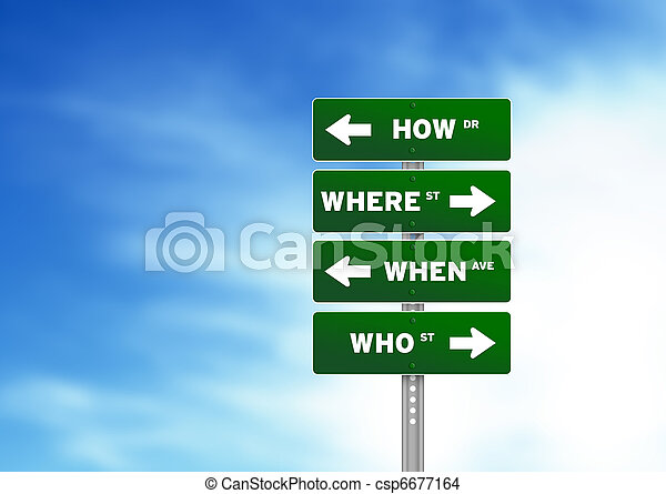 How Where When Who Street Sign - csp6677164