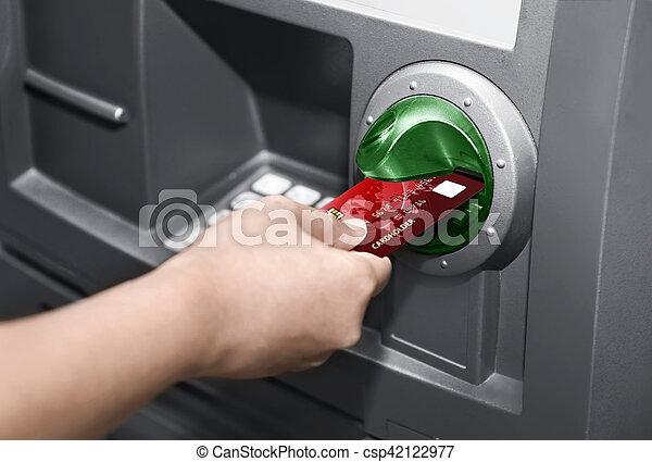 Human hand insert ATM card - csp42122977
